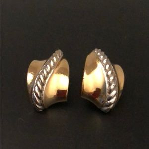 BURBERRY OF LONDON GOLD-PLATED CLIP EARRINGS